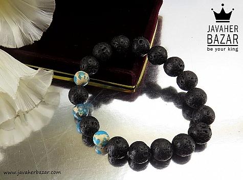 دستبند لاوا و فیروزه آفریقایی زیبا - 33509