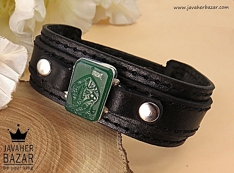 دستبند نقره عقیق و چرم حکاکی یا زهرا مردانه - 33706