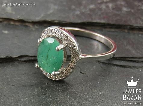 انگشتر نقره زمرد هندی طرح مهرناز زنانه - 34070