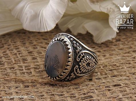 انگشتر نقره عقیق شجر شاهانه مردانه - 34175