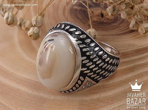 انگشتر نقره عقیق درشت مردانه - 34388