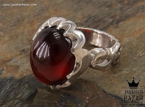 انگشتر نقره یاقوت گارنت ارزشمند مردانه - 34413