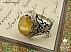 انگشتر نقره یاقوت آفریقایی زرد وبرلیان اصل مردانه - 34467 - 1