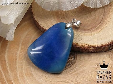 مدال عقیق آبی خوش رنگ - 34562