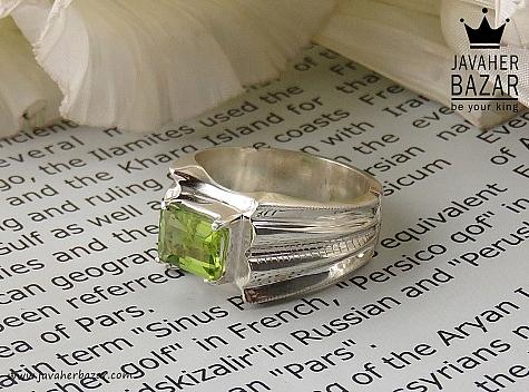 انگشتر نقره زبرجد چهارچنگ فاخر مردانه - 34608