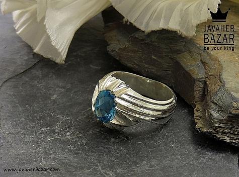 انگشتر نقره توپاز سوئیس ارزشمند مردانه - 34615