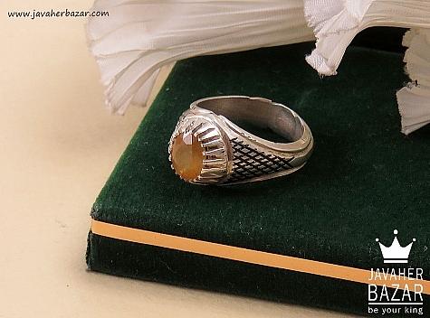 انگشتر نقره یاقوت آفریقایی زرد شاهانه مردانه دست ساز - 34638