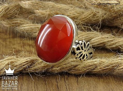 انگشتر نقره عقیق یمن الماس تراش مردانه - 34647