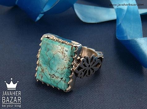 انگشتر نقره فیروزه نیشابوری درشت و ارزشمند مردانه - 34649