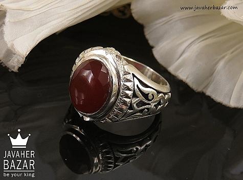 انگشتر نقره عقیق یمن و برلیان اصل الماس تراش مردانه - 34662
