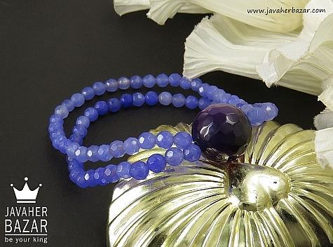 دستبند جید و عقیق بنفش زنانه - 35578