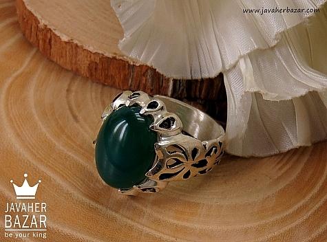 انگشتر نقره عقیق سبز مردانه - 35651