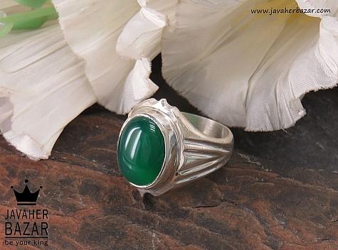 انگشتر نقره عقیق سبز درشت مردانه - 35674