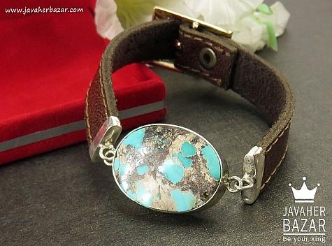 دستبند نقره چرم و فیروزه نیشابوری مردانه - 36308