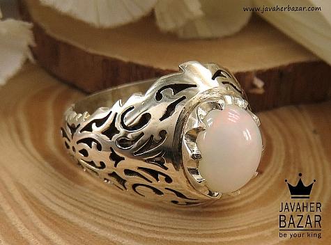 انگشتر نقره اپال رکاب شبکه ای مردانه دست ساز - 36370
