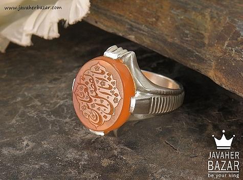 انگشتر نقره عقیق یمن شرف الشمس حکاکی یا اباالفضل العباس مردانه - 36372