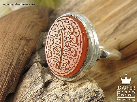 انگشتر نقره عقیق یمن شرف الشمس حکاکی مذهبی مردانه دست ساز - 36381