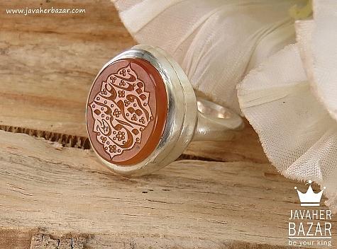 انگشتر نقره عقیق یمن شرف الشمس حکاکی یا باقر علم النبی مردانه - 36389