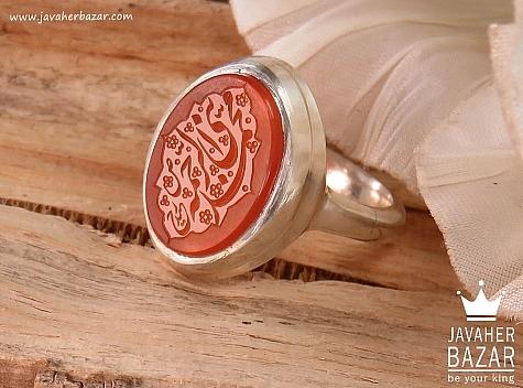 انگشتر نقره عقیق یمن شرف الشمس حکاکی محمد نبی الرحمه مردانه - 36390