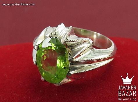 انگشتر نقره زبرجد شاهانه مردانه - 36398