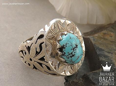 انگشتر نقره فیروزه نیشابوری طرح سلطنتی مردانه دست ساز - 36417