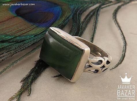 انگشتر نقره یشم هندی طرح صفوی مردانه - 36421