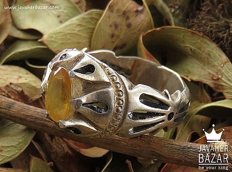 انگشتر نقره یاقوت آفریقایی زرد فاخر مردانه دست ساز - 36422