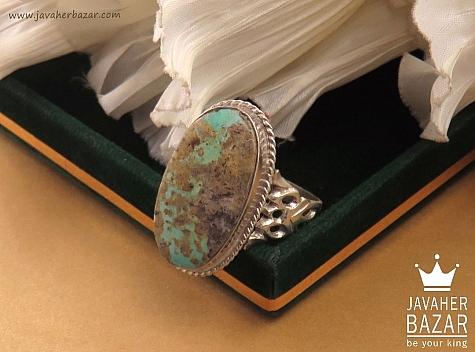 انگشتر نقره فیروزه نیشابوری درشت مردانه دست ساز - 36439