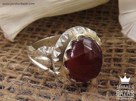 انگشتر نقره عقیق یمن الماس تراش مردانه - 36460