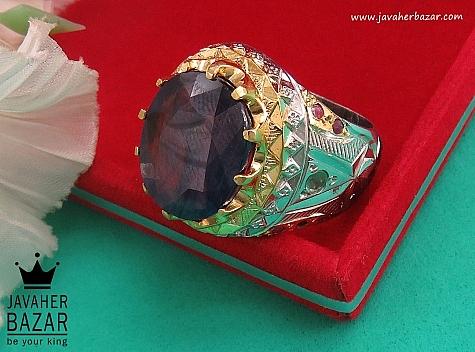 انگشتر نقره یاقوت آفریقایی زمرد زامبیا سلطنتی مردانه - 36465
