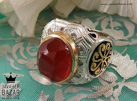 انگشتر نقره عقیق یمن و برلیان اصل الماس تراش لوکس مردانه - 36474