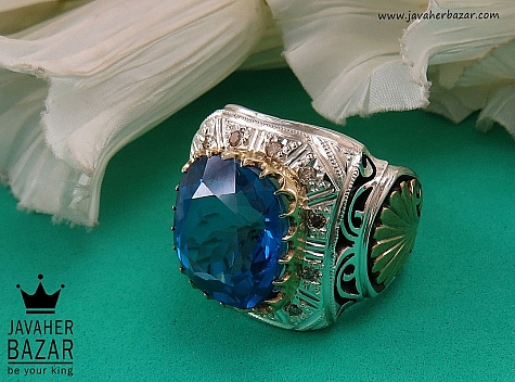 انگشتر نقره توپاز لندن و برلیان اصل سلطنتی مردانه دست ساز - 36475