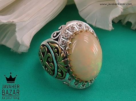 انگشتر نقره اپال اتیوپی و برلیان اصل شاهانه مردانه دست ساز - 36476
