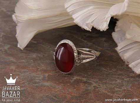 انگشتر نقره عقیق یمن الماس تراش مردانه دست ساز - 36485