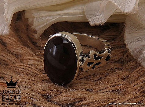 انگشتر نقره عقیق یمن الماس تراش مردانه - 36490
