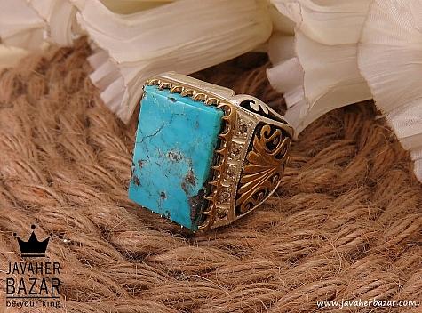 انگشتر نقره فیروزه نیشابوری و برلیان اصل لوکس و شاهانه مردانه دست ساز - 36493