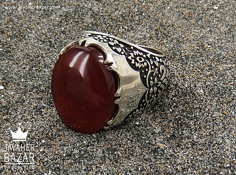 انگشتر نقره عقیق یمن خوش نقش و شاهانه مردانه دست ساز - 36576