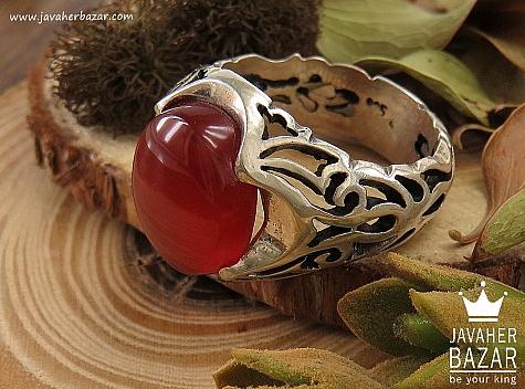 انگشتر نقره عقیق یمن مرغوب مردانه - 36602