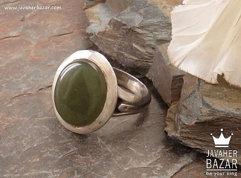 انگشتر نقره یشم یمن فاخر مردانه - 36608
