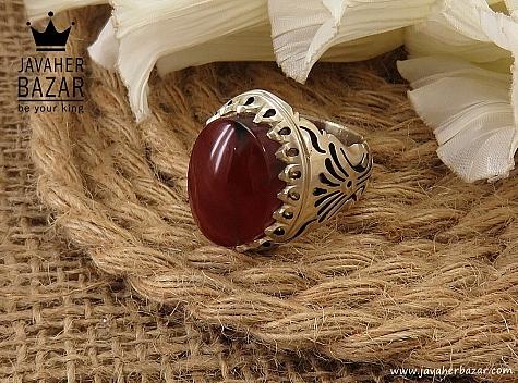 انگشتر نقره عقیق یمن طرح شاهانه مردانه - 36621