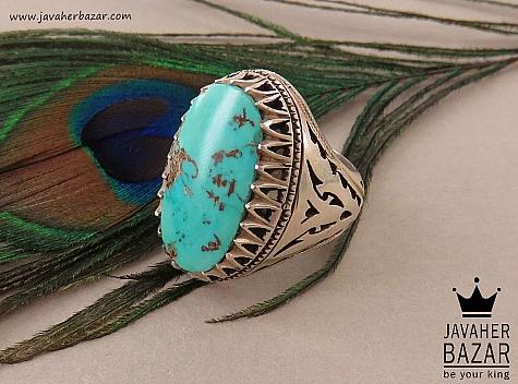 انگشتر نقره فیروزه نیشابوری فاخر و شاهانه مردانه - 36624