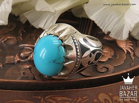 انگشتر نقره فیروزه مصری طرح سلطنتی مردانه دست ساز - 36633