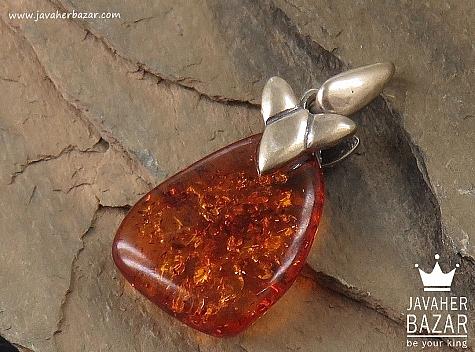 مدال نقره کهربا روسی عسلی رنگ - 36879
