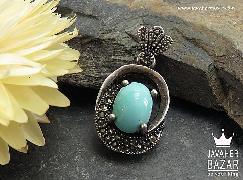 مدال نقره فیروزه نیشابوری اشرافی - 37011