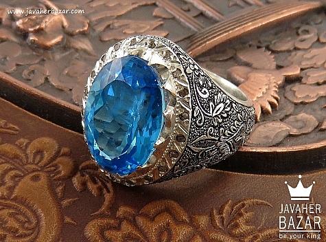انگشتر نقره توپاز سوئیس و برلیان اصل شاهانه مردانه دست ساز - 37120