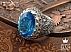 انگشتر نقره توپاز سوئیس و برلیان اصل شاهانه مردانه دست ساز - 37120 - 1