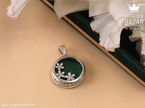 مدال نقره عقیق طرح شهین - 37315