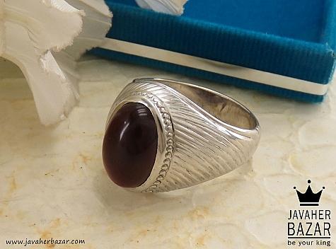 انگشتر نقره عقیق طرح سلطنتی مردانه - 37674