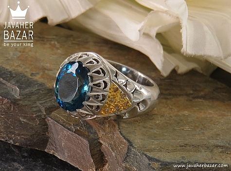 انگشتر نقره توپاز لندن و برلیان اصل سلطنتی مردانه دست ساز - 38047