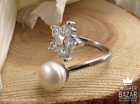 انگشتر نقره مروارید زیبا زنانه - 38406